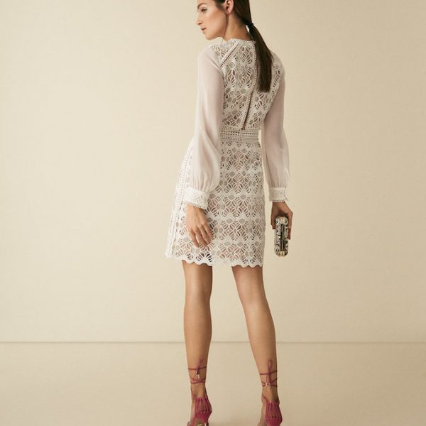 2b41fdffab02 Reiss Aria sleeve geometric lace dress with sheer sleeves