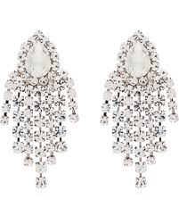 Alessandra Rich Silver Tone Crystal Drop Earrings