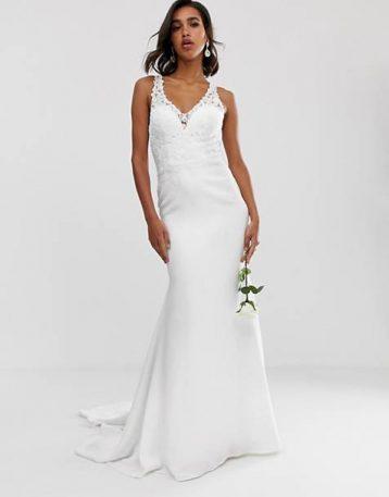 ASOS EDITION embellished lace bodice wedding dress with crepe skirt Ivory