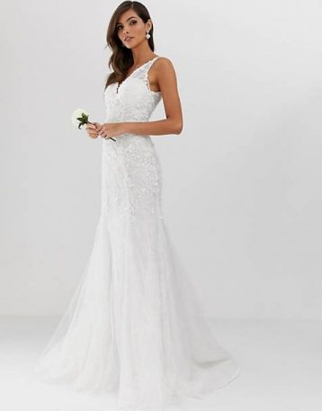 ASOS EDITION embroidered mesh over lace fishtail wedding dress Ivory