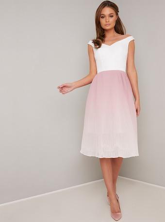 Chi Chi Afia Ombre Dress White Pink