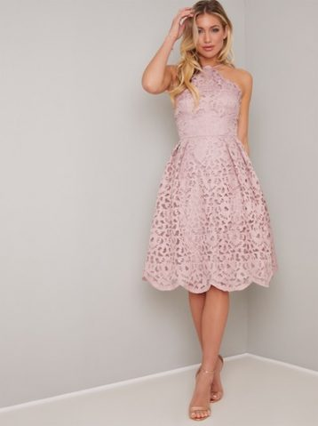 Chi Chi Claudelle Halter Lace Dress Pale Pink Blush