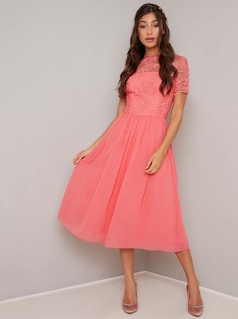 Chi Chi Kaytie Lace Midi Bridesmaid Dress Neon Coral