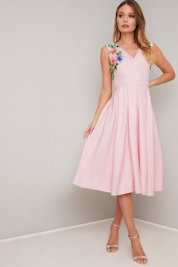 Chi Chi Kylee Floral Embroidered Dress Pale Pink Blush