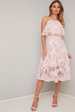 Chi Chi Morton Shelf Overlay Sheer Floral Embroidered Dress Pale Pink Blush
