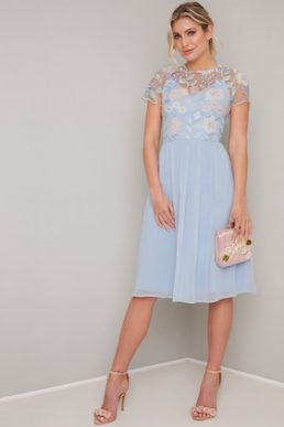 Chi Chi Rusa Floral Embroidered Sheer Dress Pale Blue Multi