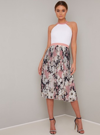 Chi Chi Zyra Pleat Dress White Pink Black