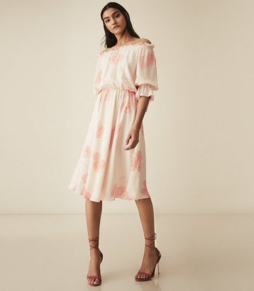 Reiss Floral Printed Bardot Midi Dress Peaches White Pink Cream