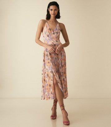 Reiss Corinne Floral Printed Midi Dress Pink Multi