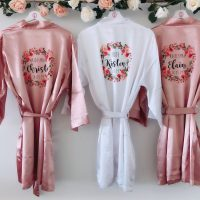 Florence Silk bridal robes with floral design, personalised satin bridesmaid robe