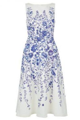 Hobbs Sissinghurst Floral Dress Blue White
