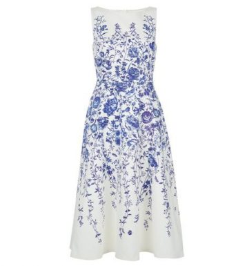 Hobbs Sissinghurst Floral Dress Blue White