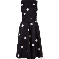 Hobbs Twitchill Linen Spot Dress Navy Ivory
