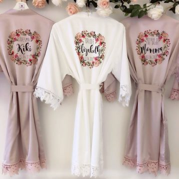 Pearl Florence silk and lace bridal wedding robe with lace arms and bottoms