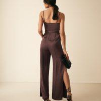 Reiss Arizona Satin Cowl Neck Jumpsuit Chocolate Brown