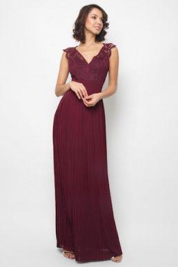 TFNC Shannon Grape Lace Wine Maxi Dress Mulberry