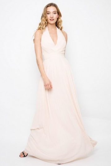 TFNC Vishaka Nude Maxi Dress Pale Pink Blush
