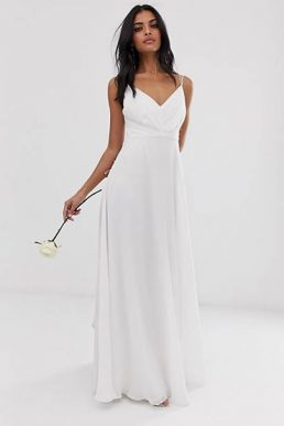 ASOS DESIGN Bridesmaid cami maxi dress with ruched bodice and tie waist White