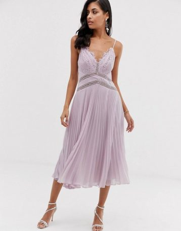 ASOS DESIGN midi dress with lace bodice and delicate lace trim details Lilac purple