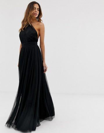 ASOS DESIGN premium one shoulder tulle maxi dress Black