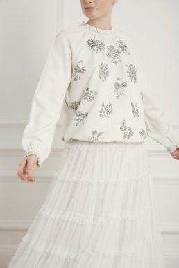 Needle & Thread Gemstone Embellished Bridal Sweat Ivory