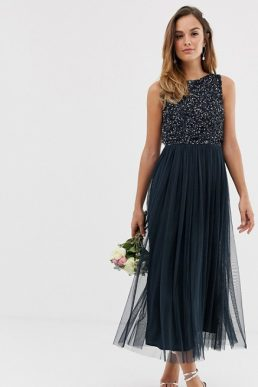 Maya Bridesmaid sleeveless midi tulle dress with tonal delicate sequin overlay navy