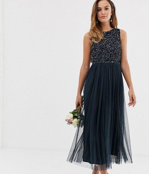 6ec4de6b88 Maya Bridesmaid sleeveless midi tulle dress with tonal delicate sequin  overlay navy