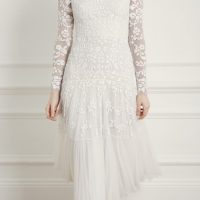 Needle & Thread Bella Sequin Long Sleeve Ballerina Bridal Dress Ivory