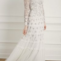Needle & Thread Fallen Petals Long Sleeve Bridal Gown Ivory