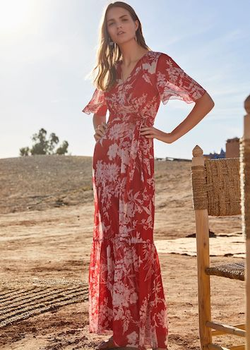 Phase Eight Amy Printed Maxi Dress Red White