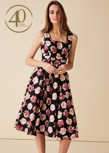 Phase Eight Judith Floral A-line Dress Black Multi