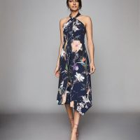 Reiss Yasminda rainforest printed midi dress Navy blue multi