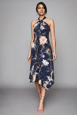 Reiss Yasminda rainforest printed midi dress Navy blue multi