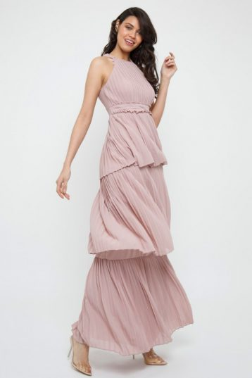 TFNC Veerle Pale Mauve Maxi Dress Blush Pink