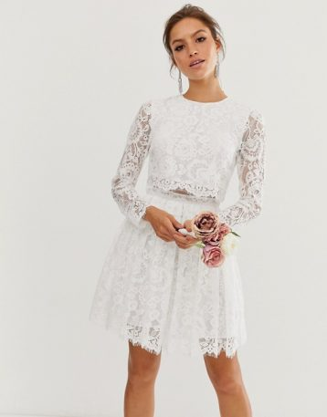 ASOS EDITION crop top lace mini wedding dress Ivory