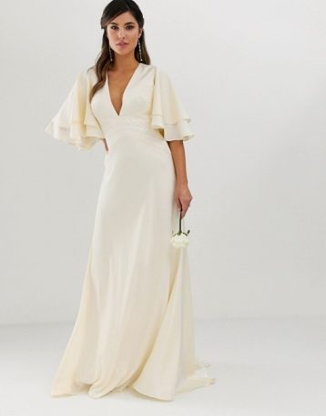 ASOS EDITION satin panelled wedding dress with flutter sleeve Ivory Oyster