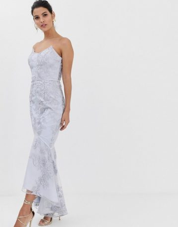 Bariano embroidered lace fluted hem midi maxi dress in grey lilac