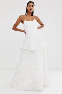 Bariano square neck bridal dress in white
