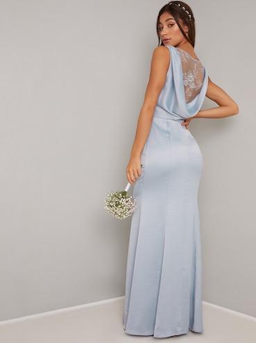 Chi Chi Guldem Cowl Back Lace Bridesmaid Dress Bluelilac