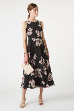 Hobbs Carly Floral Print Dress Black Pink Multi