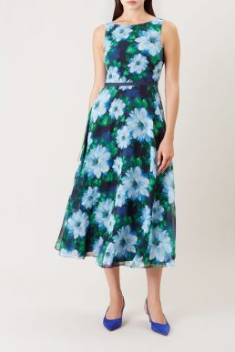 Hobbs Carly Floral Print Dress Blue Green