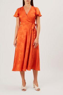 Hobbs Eleanor Wrap Sleeve Dress Orange
