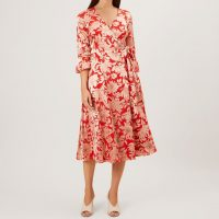Hobbs Justina Floral Sleeve Midi Dress Red Pink