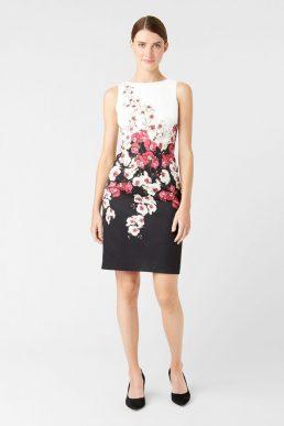 Hobbs Moira Floral Shift Dress Black White