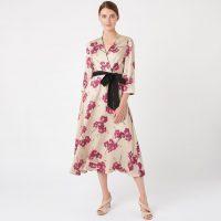 Hobbs Nina Floral Sleeve Midi Wrap Dress Cream Cerise Pink