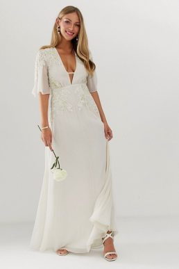 Hope & Ivy bridal kimono sleeve maxi dress White