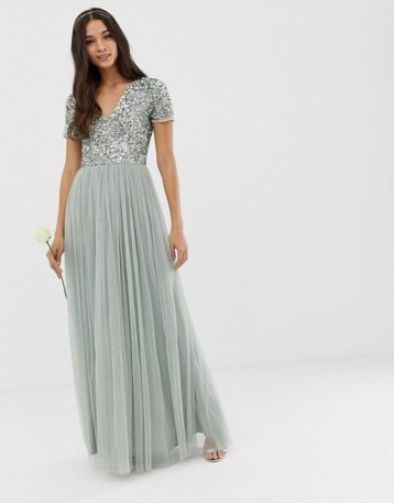 Maya Bridesmaid v neck maxi tulle sequin dress green lily