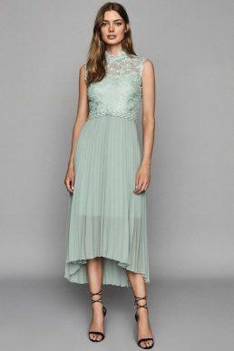 Reiss Aideen Lace Detail Pleated Midi Dress Sage green mint cream