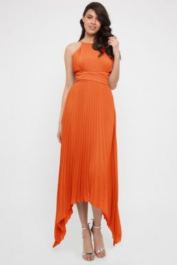 TFNC Morely Green Lily High-Low Maxi Bridesmaid Dress Orange