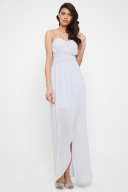 TFNC Vita Ice Maxi Bridesmaid Dress Light Grey